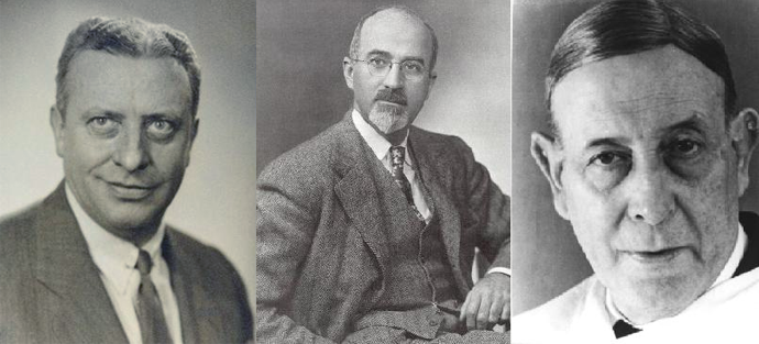 De izq. a dcha.: Fulton, Freeman y Egas Moniz. Lobotomía