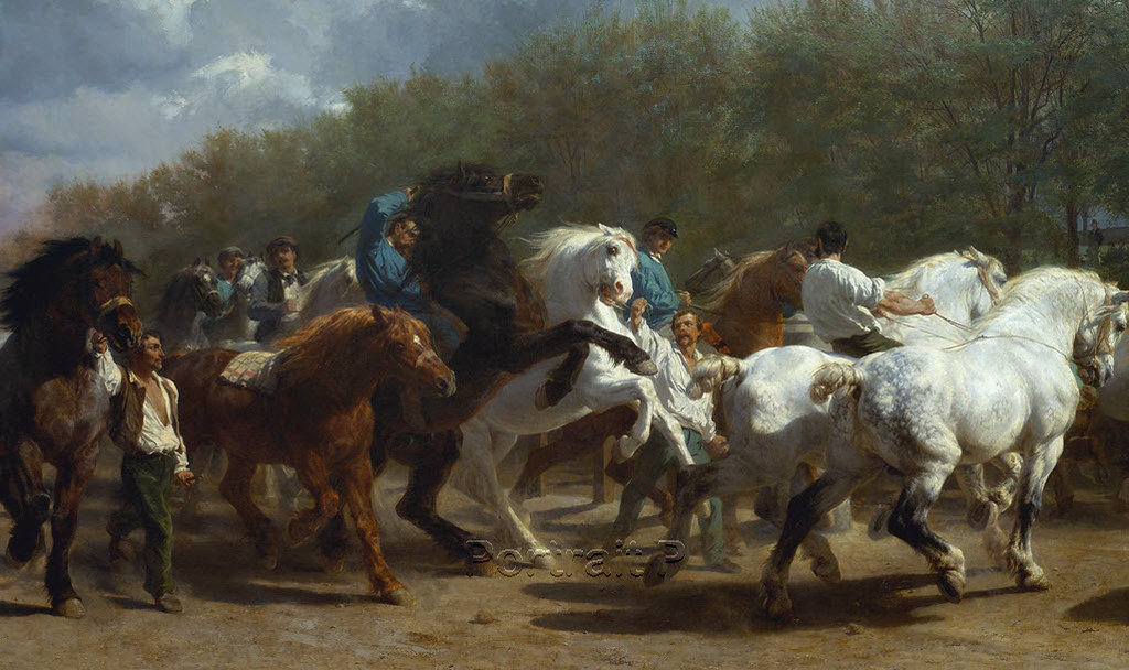 The Horse Fair Rosa Bonheur Antique Old Master Art Oil