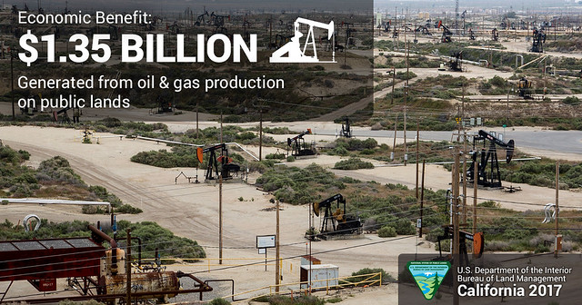 Economic Benefit: $1.35 billion generated from oil & gas production on public lands in Caifornia.  Oil rigs scattered over a large production area.