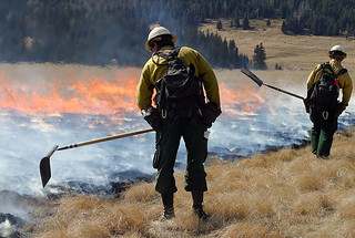 Crews attend to a prescribed burn on the Valles Caldera National Preserve in 2005.