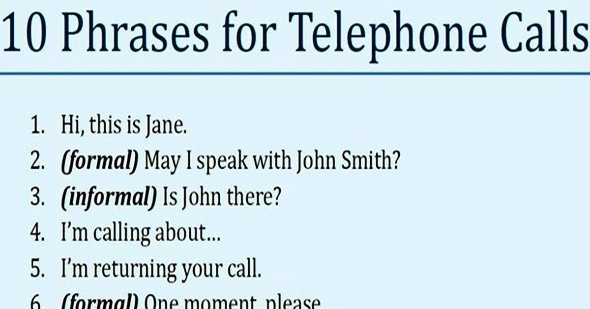 10 Phrases You Can Use When Making a Telephone Call ;) 5