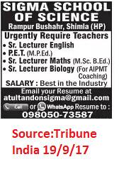 Sigma School Of Science,Sr.Lecturer English,Shimla