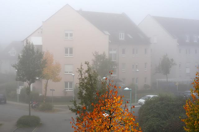 Wetter Mannheim am 24. September 2017: Nebel. Heute ist Bundestagswahl. Hoffentlich finden die Leute den Weg zur Wahlurne.