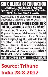 SAI college of education,Asst. Professor,Nawanshar