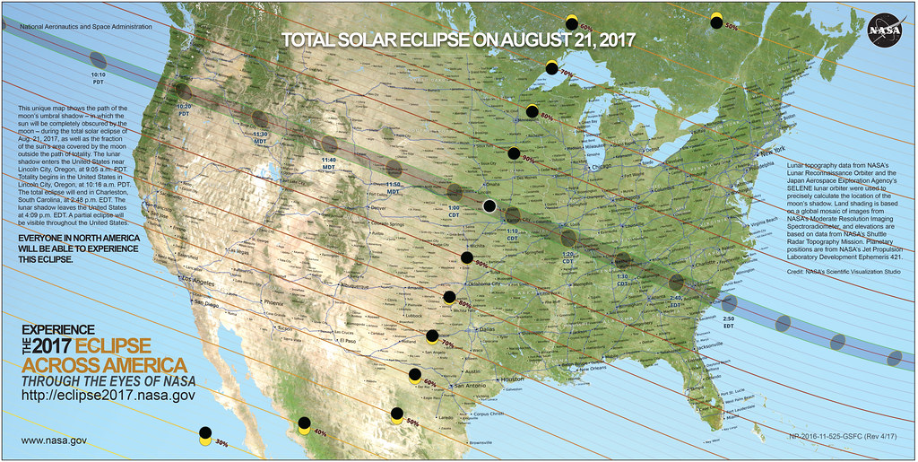 Total Solar Eclipse 2017 Path USA Map This unique map show Flickr