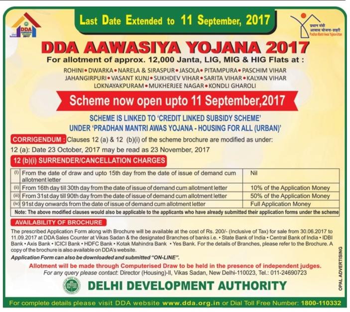 DDA Housing Scheme 2017 Application Form (Online, Offline), Last
