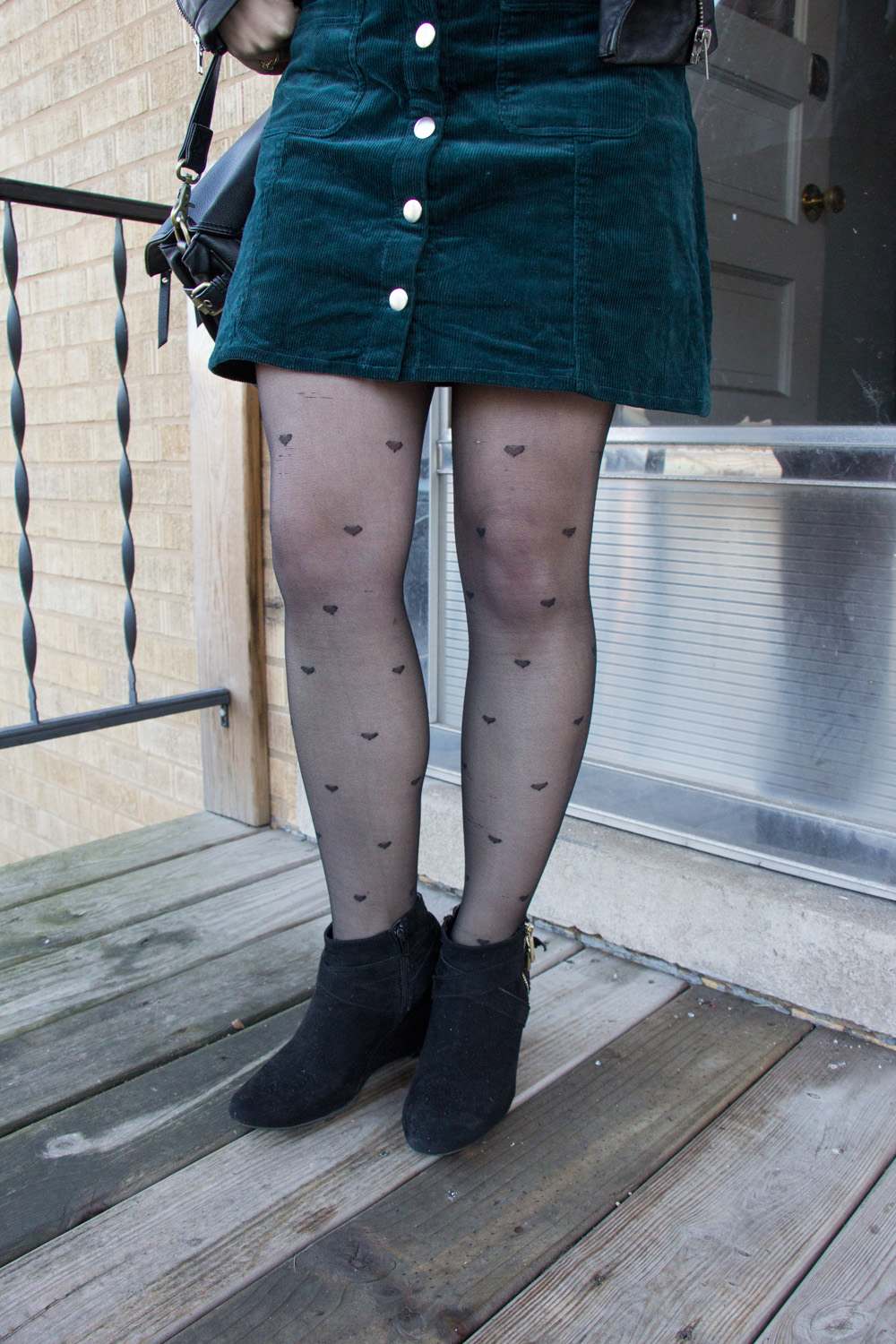 Tiny Heart Print Tights, Green Corduroy Skirt, Black Ankle Boots