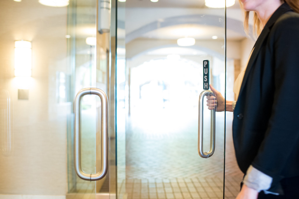 Woman Opens Door | by amtec_photos Woman Opens Door | by amtec_photos & Woman Opens Door | Woman holding door handle to enter. door \u2026 | Flickr