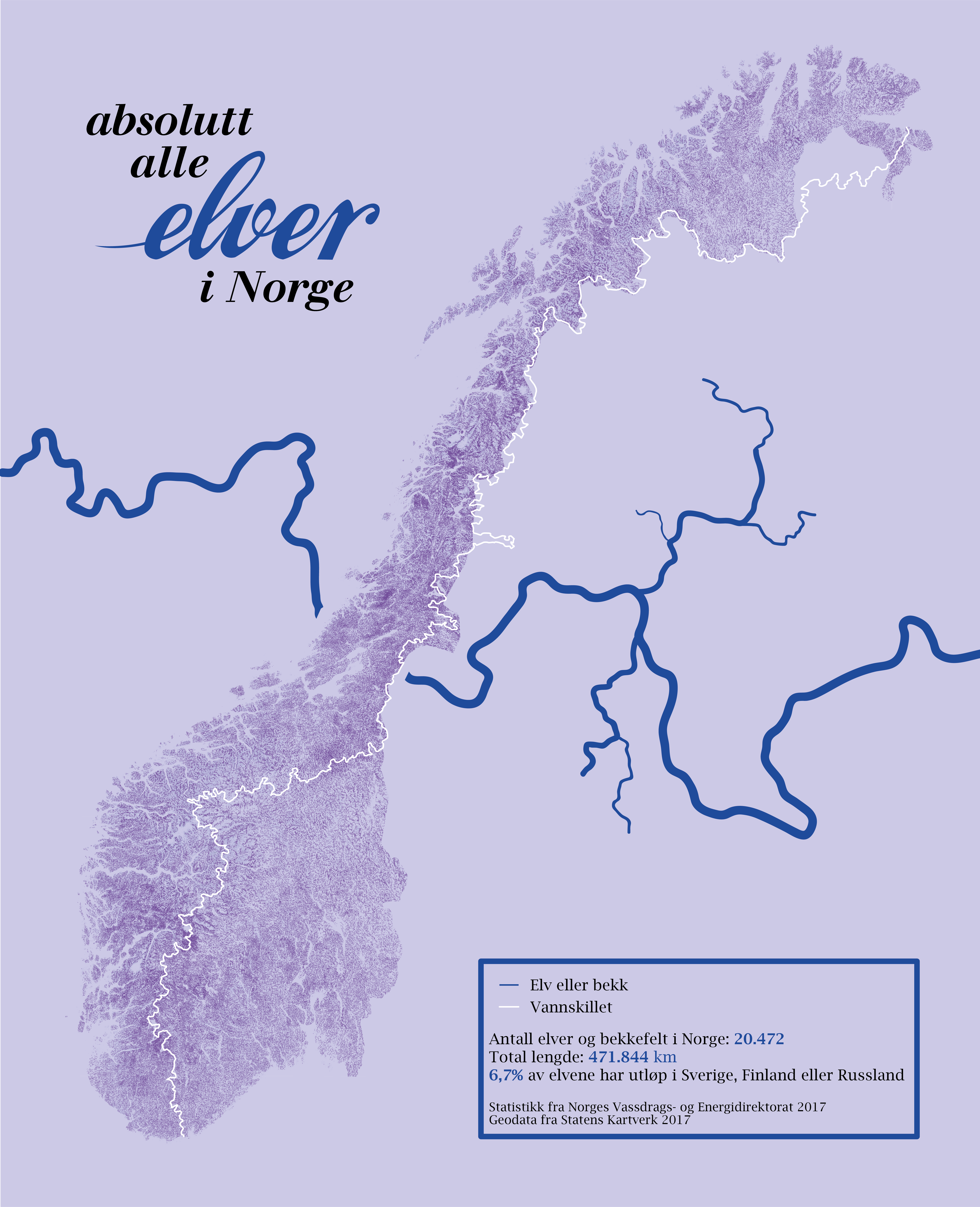 kart over elver Every river and stream in Norway [5424 x 6680] : MapPorn kart over elver