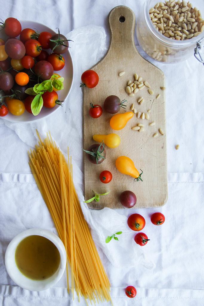 Spaghettis aux tomates rôties recette