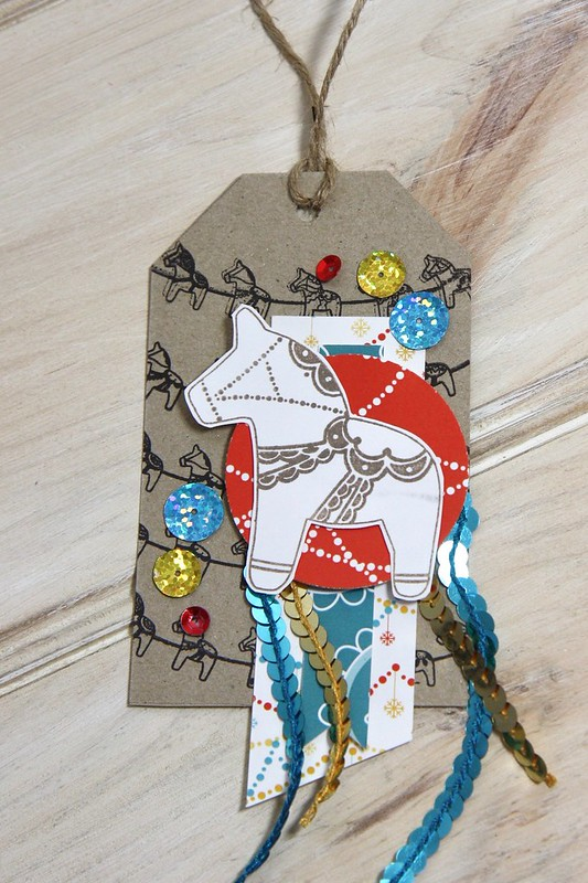StickerKitten Dala Horse - horse tag with sequin trim and stamped horse bunting