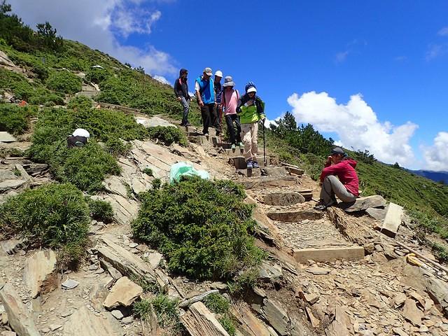 106年9月 這張照片和前一張是同一個地點。合歡北峰步道的沖蝕溝,由步道志工們合力修築土石階梯後,步道志工觀察著遊客行走的情形,了解修築的效果。攝影:陳理德
