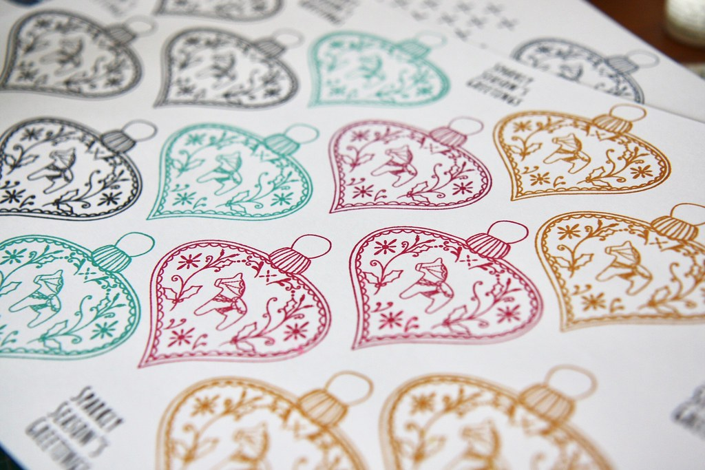StickerKitten Dala Horse stamp set - colourful bauble stamps