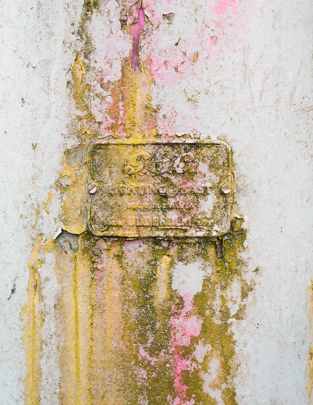 lamppost with green and pink decay