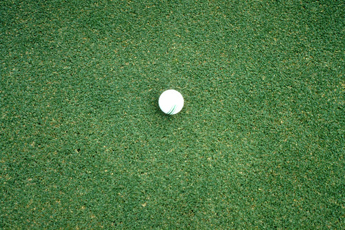 A putting green with a golf ball