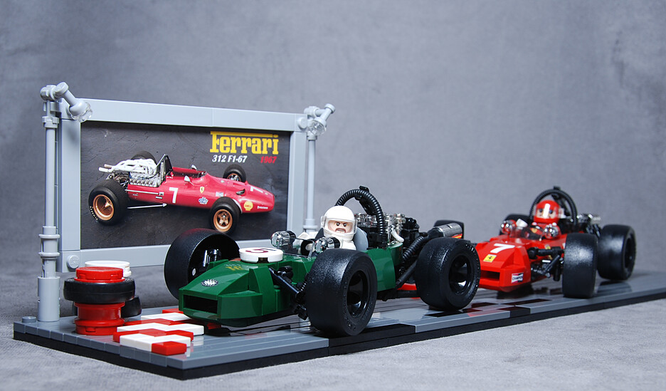 ferrari 312 vs brabham bt24 minifig scale vintage. Black Bedroom Furniture Sets. Home Design Ideas