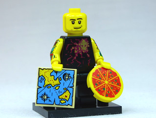 Brick Yourself Custom Lego Figure  Tattooed Guy with Map and Pizza | by BrickManDan