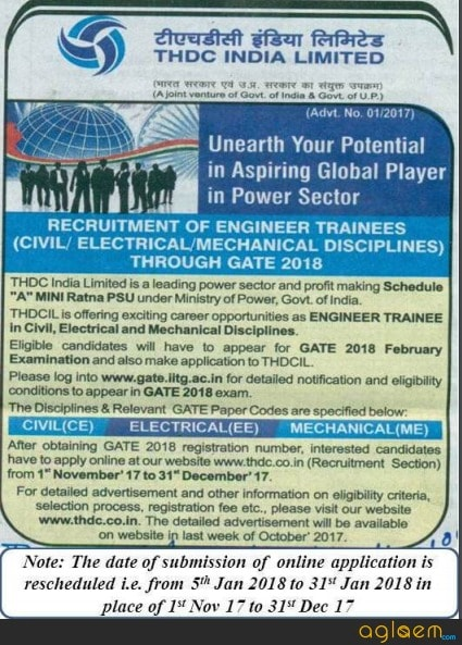 THDC Recruitment through GATE 2018 for Engineer Trainee