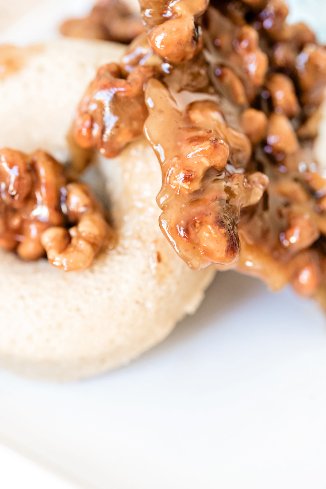 pumpkin pie spice donuts with candied walnuts
