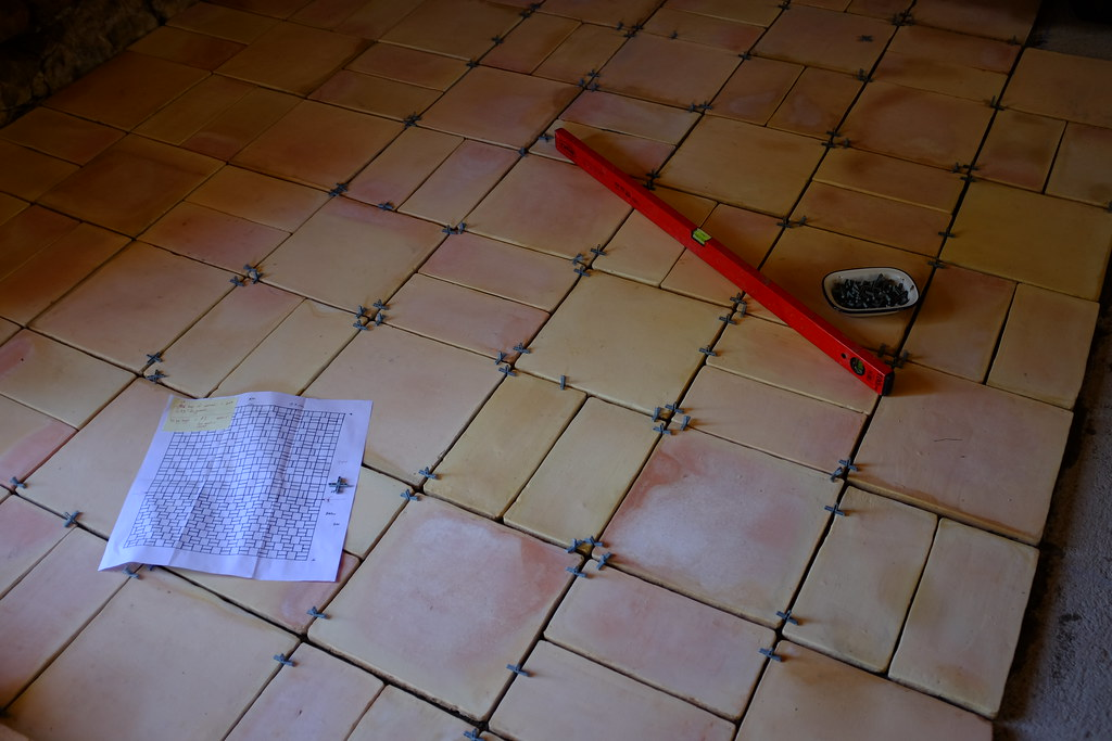 Laying terracotta tiles   I designed and laid a floor of han…   Flickr