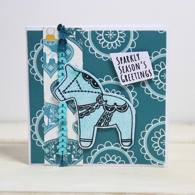 Dala Horse mini 4x4 Christmas card made with the StickerKitten Dala Horse craft collection