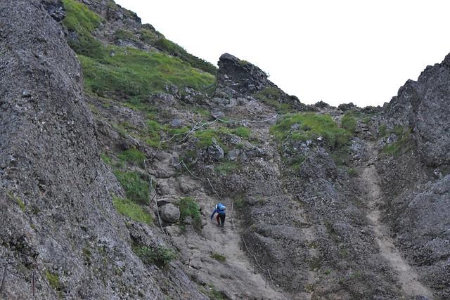 赤岳~横岳~硫黄岳縦走登山 横岳の岩場