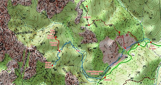 Carte IGN de la zone Ricu - Pinetu Pianu en rive gauche du Finicione avec la trace du sentier vers la sapara