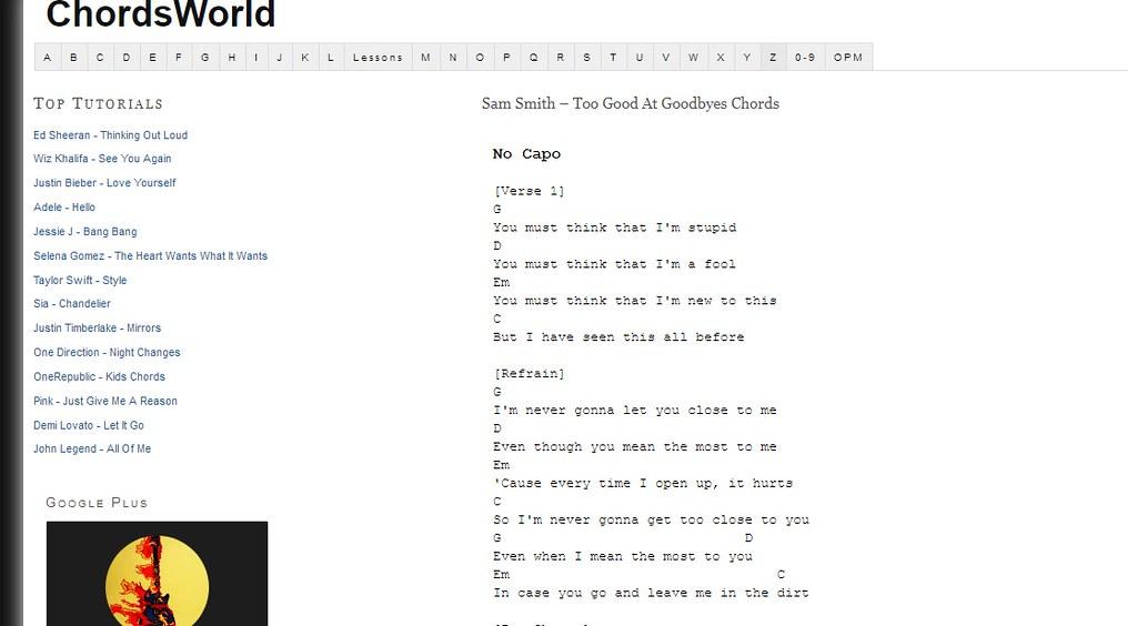 Sam Smith Too Good At Goodbyes Chords Too Good At Goodbyes Flickr