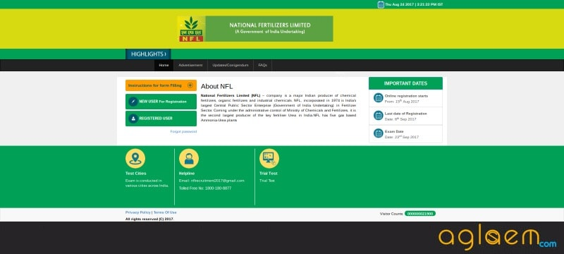 National Fertilizers Limited Recruitment 2017 (MT)   Admit Card Released