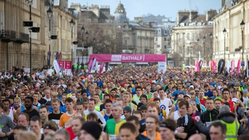 Runners at the Bath half marathon