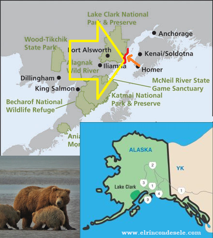 Mapa Lake Clark National Park (Ideal para ver osos en Alaska)