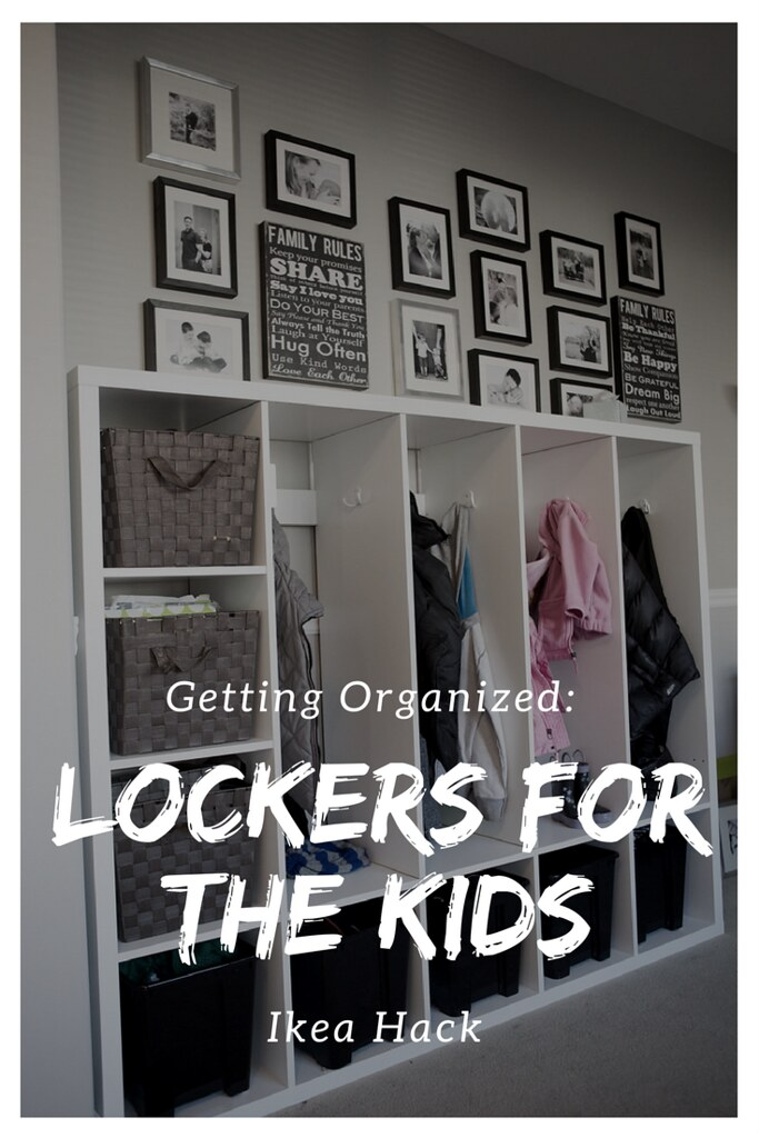 Getting organized by making lockers for your kids using an IKEA hack!