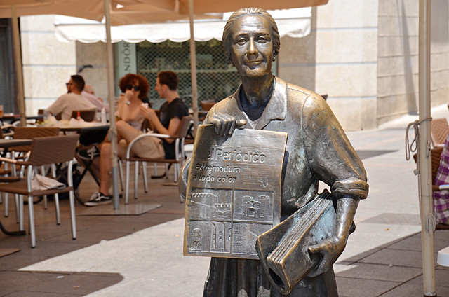 Statue of local newspaper seller, Caceres, Extramadura