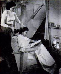Two-Story British Trailer (1952) - Stairway to second-floor room can be seen to the left of the fireplace.