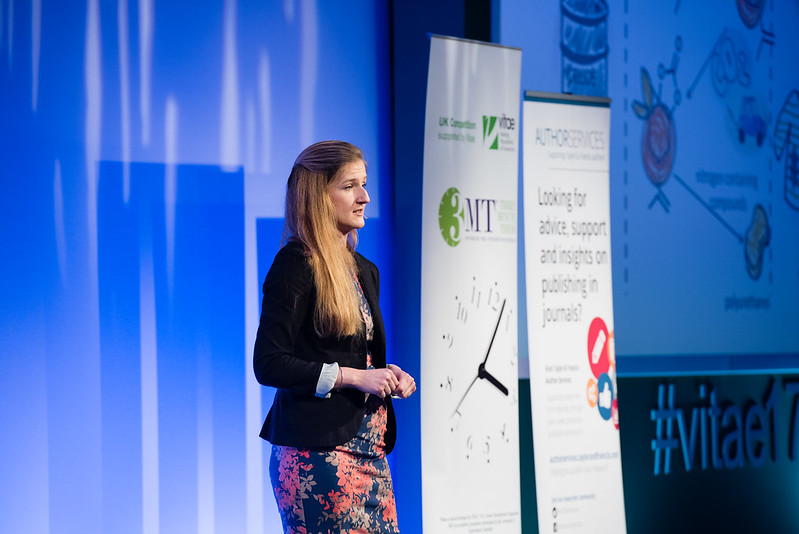This is an image of Kasia Smug, winner of Bath's 3MT® 2017 final. (Image from Vitae)