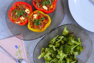 stuffed bell peppers flat lay | by Tweety Golez