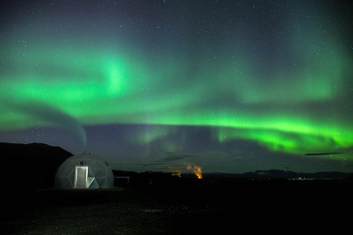 Northern Lights Over a Well Protection Dome in Hellisheidi and the Nesjavellir Power Plant [FIRST PLACE] | by Geothermal Resources Council