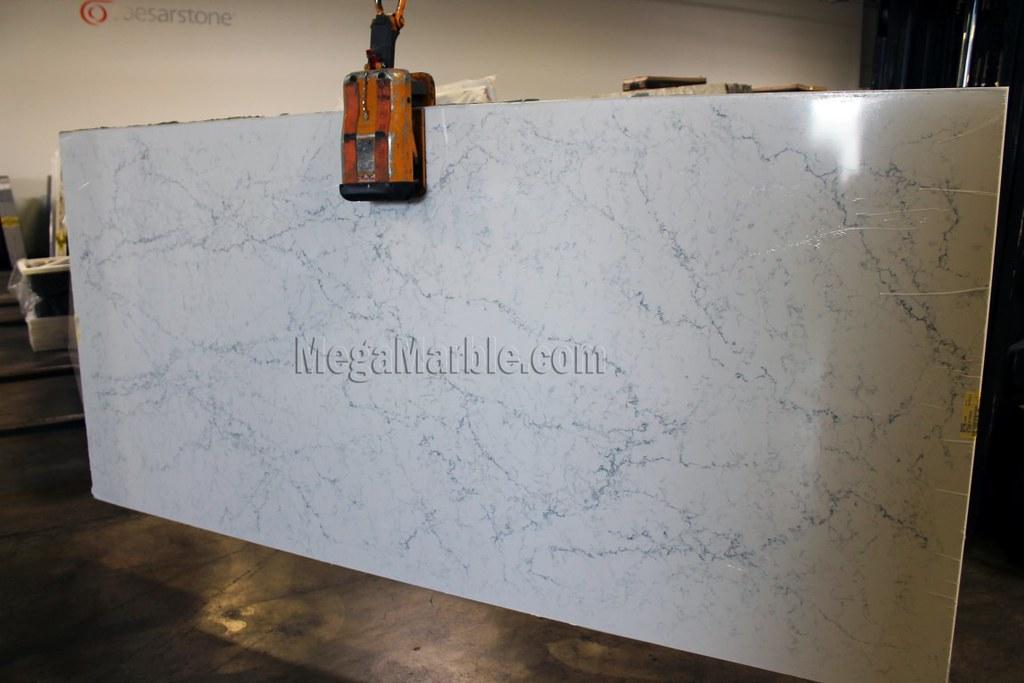 White Attica Caesarstone Quartz Countertops Slab Exotic Natural