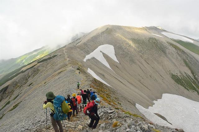 富士ノ折立から真砂岳への稜線