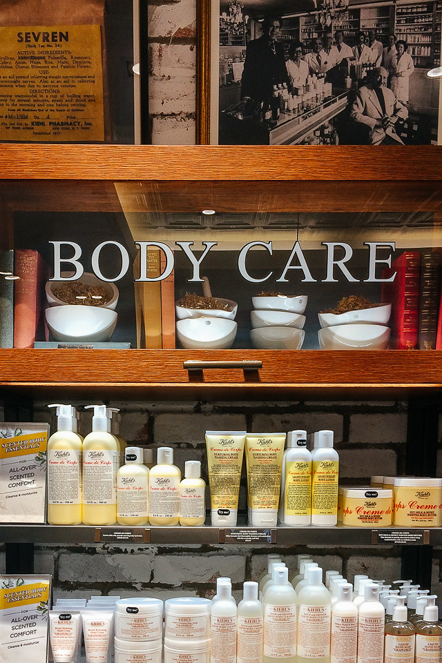 body care shelves at kiehl's st davids, cardiff