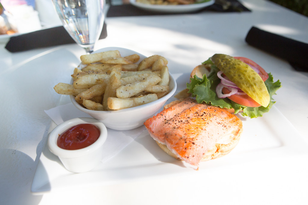Salmon Burger at Rowena's Inn on the River