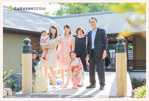 名古屋で七五三写真の出張撮影 前撮り 着物/・和装 女の子 男の子 徳川園 キリスト教会 家族写真 ロケーション撮影