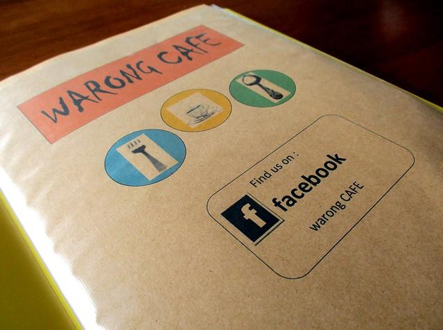 Warong Cafe, menu