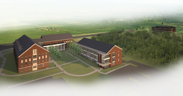 An image showing the new School of Nursing Building and the new Pharmaceutical Research Building.
