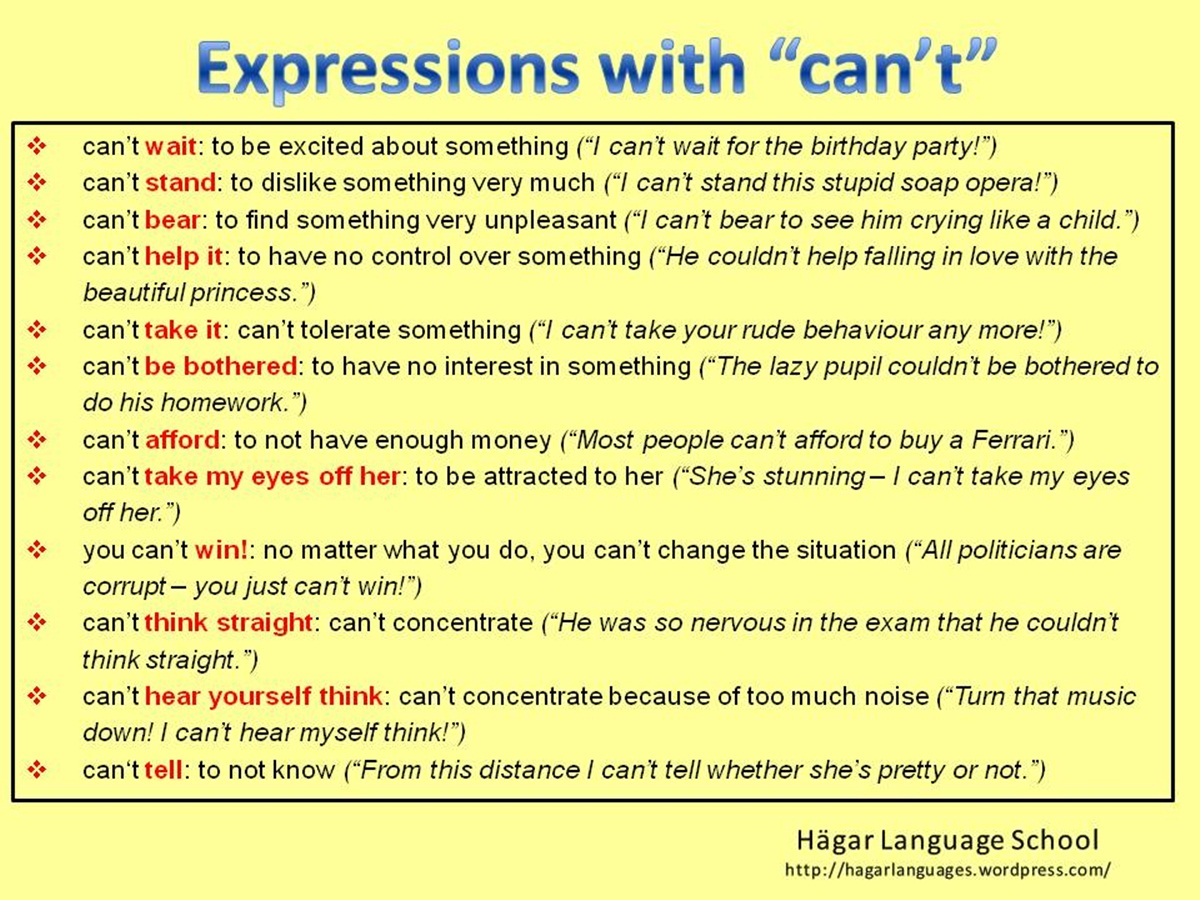 """Useful Expressions with """"CAN'T"""" 3"""