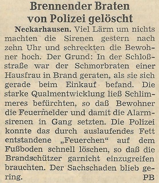 Neckarhausen Polizeibericht Brennender Braten von Polizei gelöscht ... Brigitte Stolle
