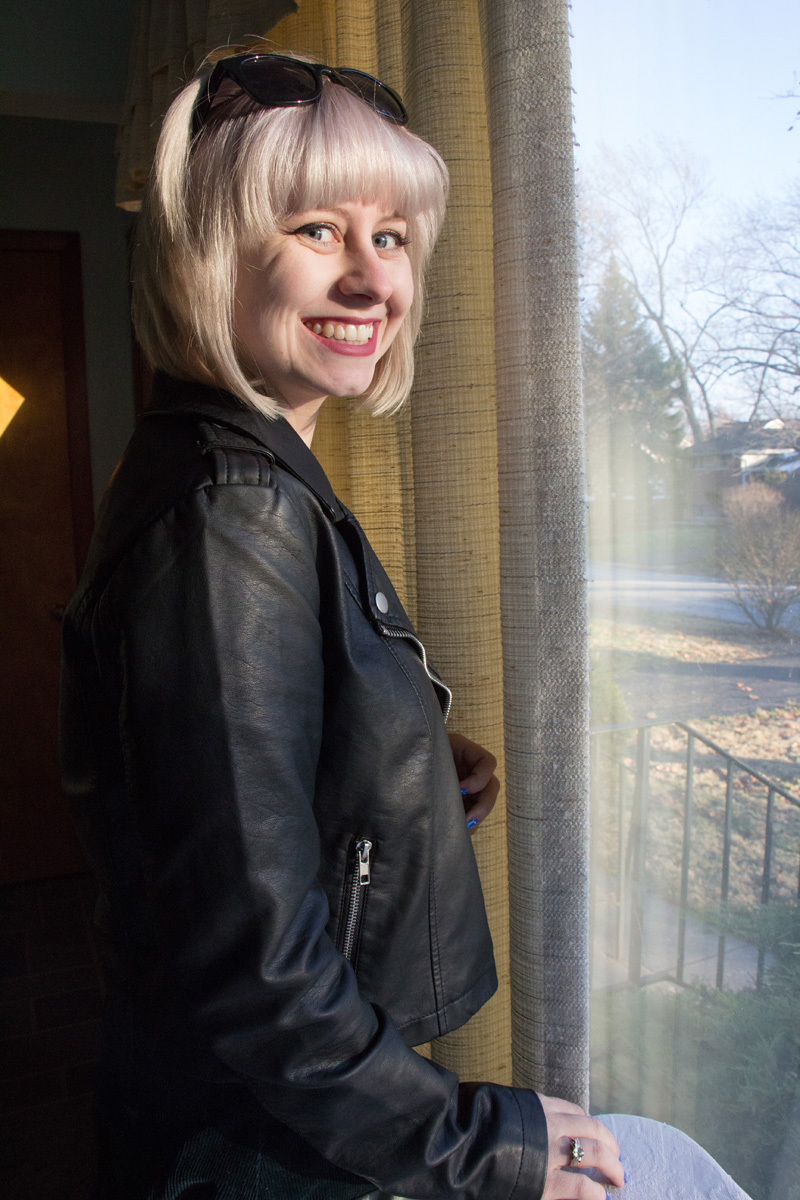 Light Blonde Hair with Bangs, Leather Jacket