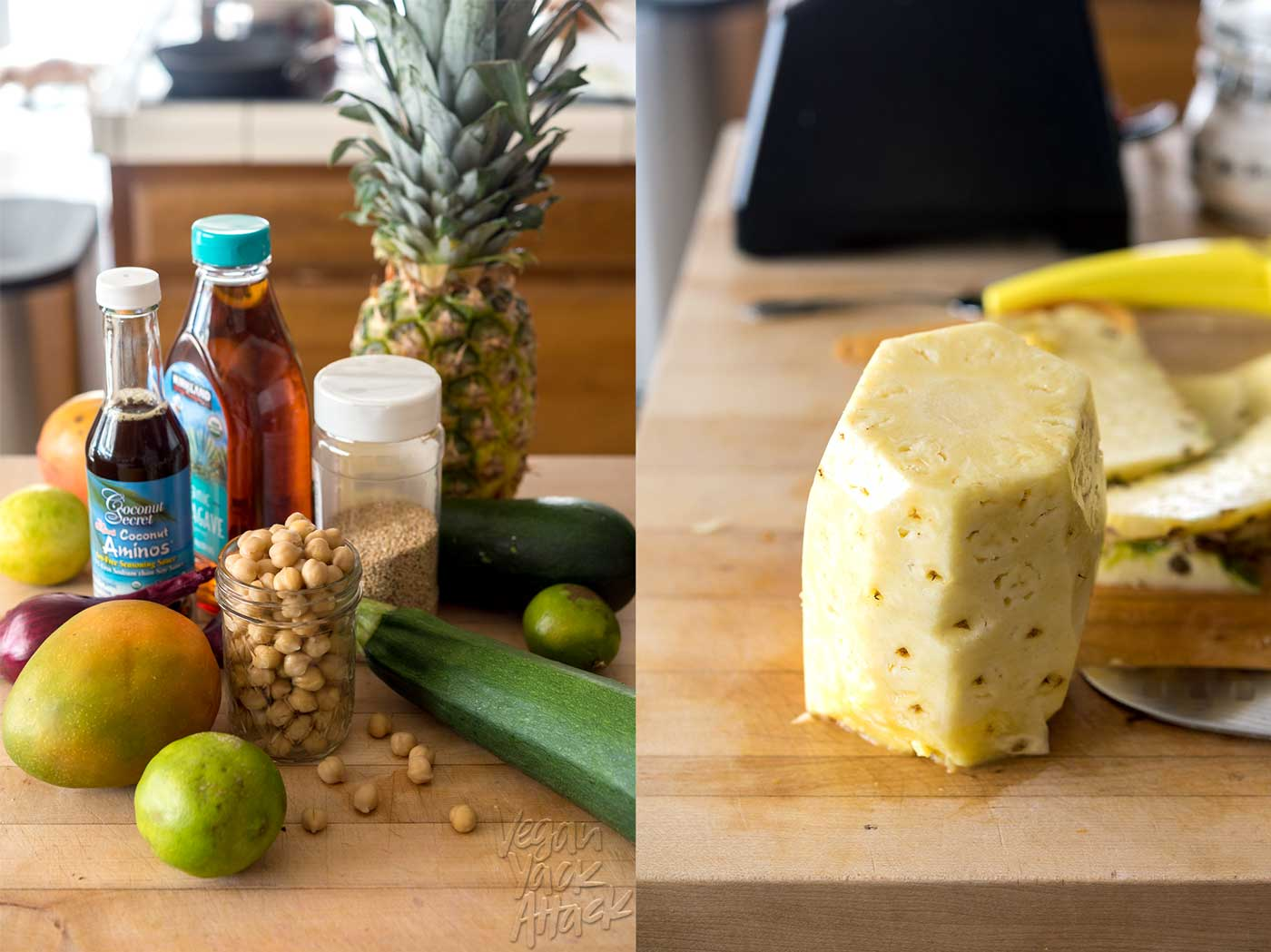 image collage of fresh ingredients, chickpeas, seeds, and pineapple