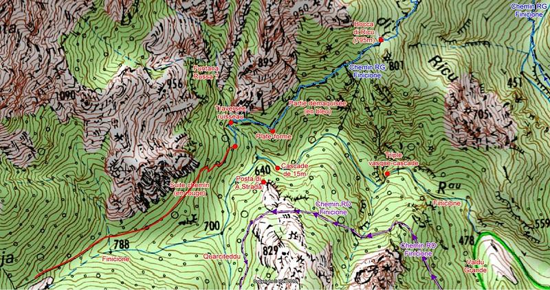 Carte de l'amont du Finicione avec le tracé du chemin RG du Finicione au-delà de Bocca di Ricu
