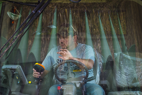 Navy-veteran Lenny Evans Miles, Jr. harvesting corn